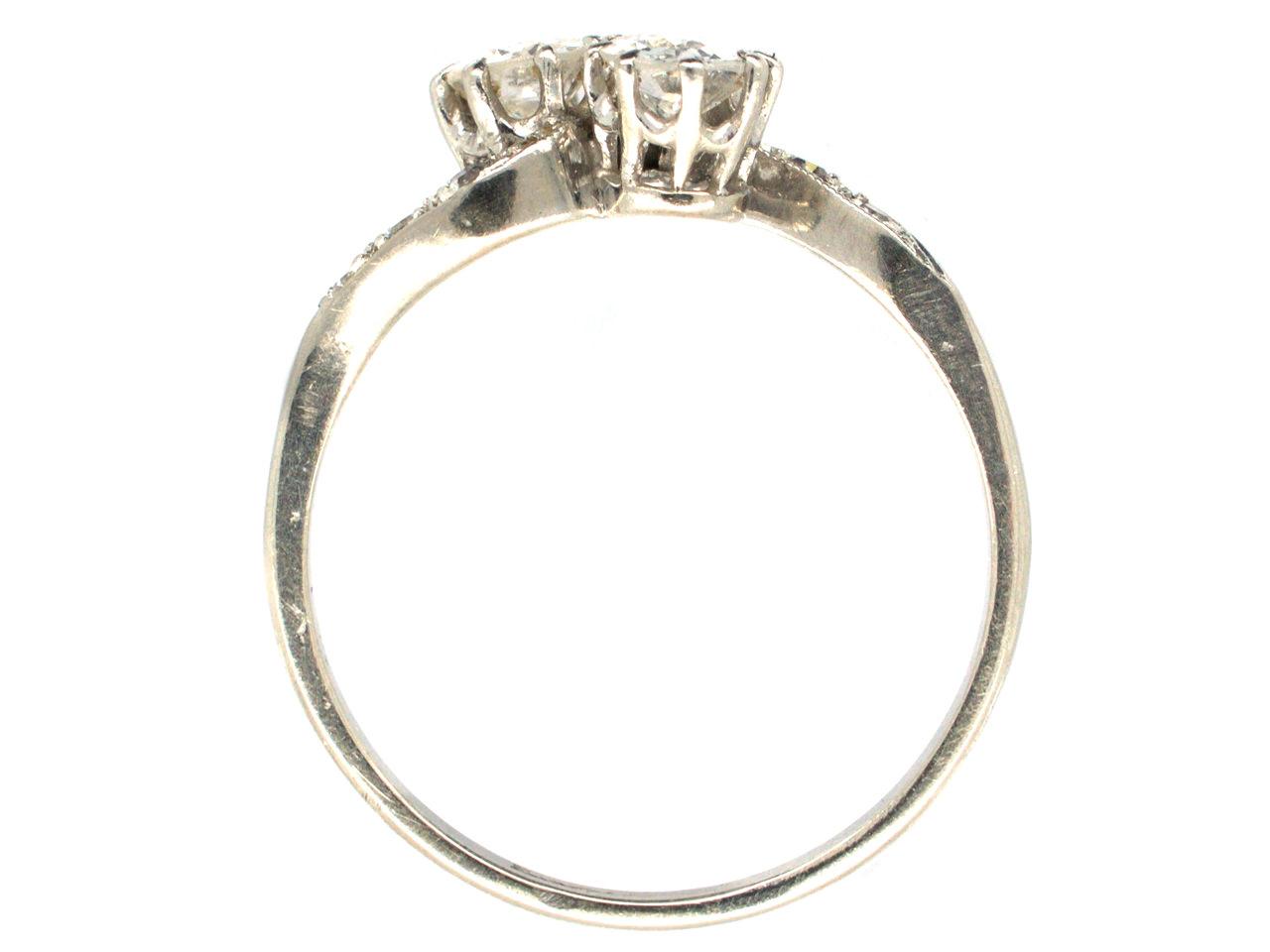 Edwardian Two Stone Diamond Crossover Platinum Ring