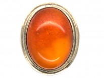 1930s Amber & Silver Ring