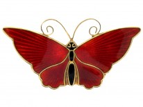 Silver & Red Enamel Butterfly Brooch by David Anderson