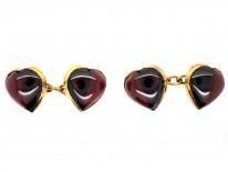 15ct Gold & Cabochon Garnet Heart Shaped Cufflinks