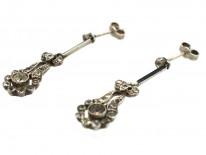 Art Deco Silver, Paste & Black Enamel Drop Earrings