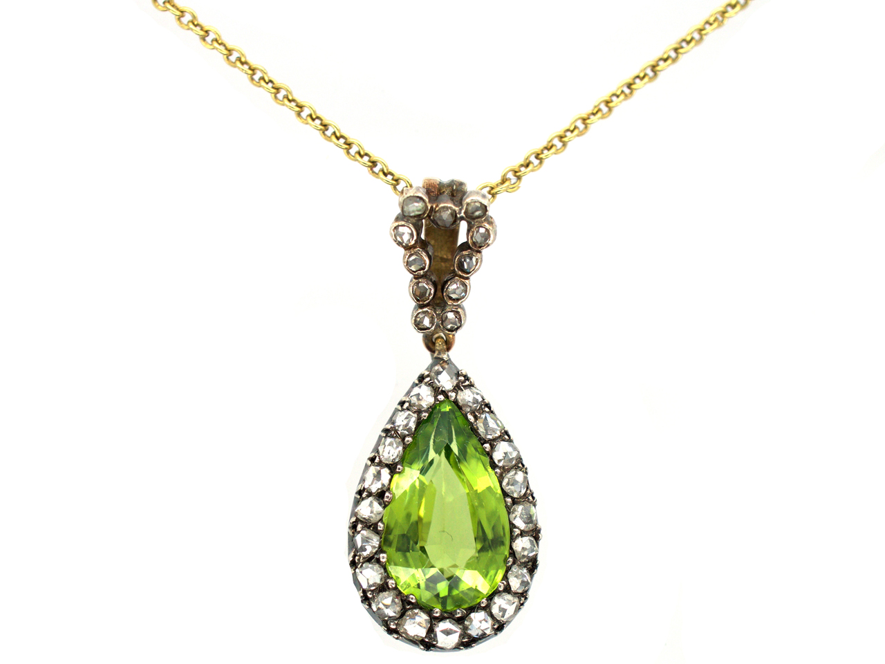 Edwardian Peridot & Diamond Pear Shaped Pendant on Gold Chain