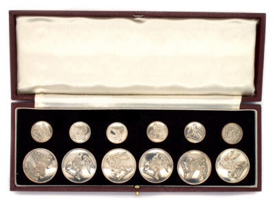 Victorian Set of Silver Dress Buttons in Case by Firmin & Sons