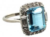 18ct White Gold & Platinum Aquamarine & Diamond Rectangular Ring