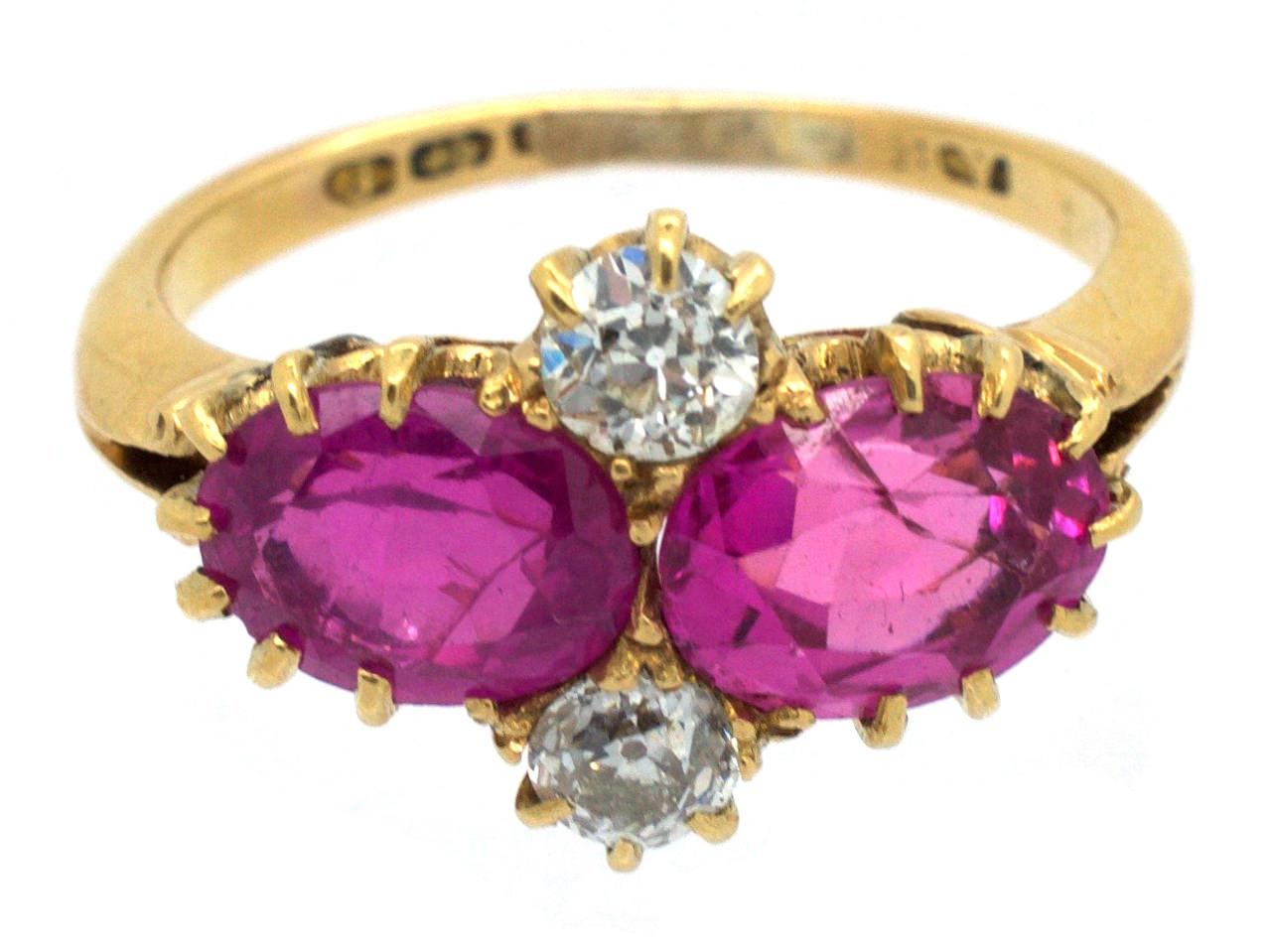 Edwardian Pink Sapphire & Diamond Ring
