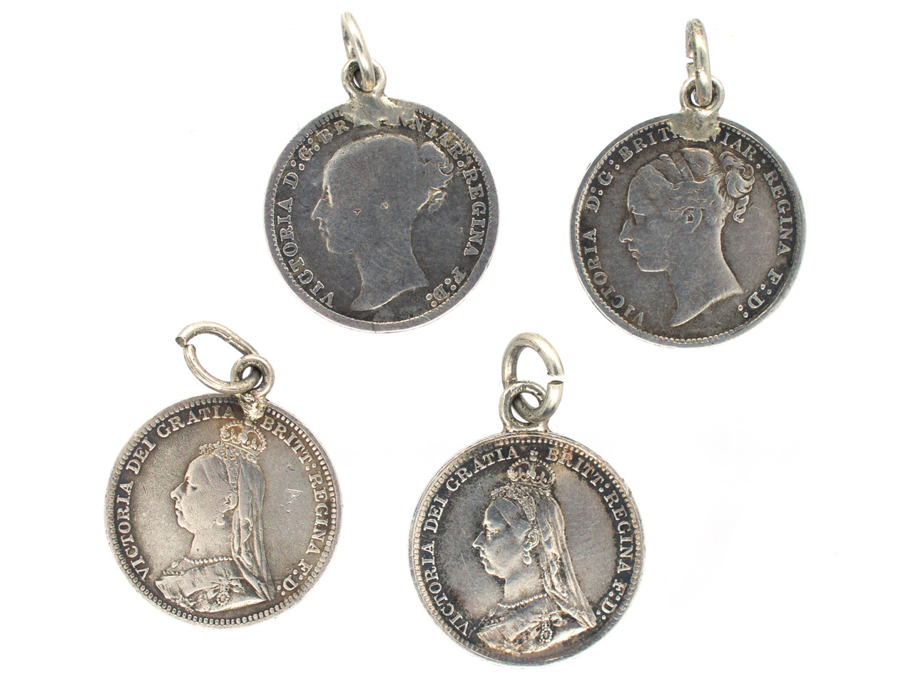 Four Victorian Silver Sixpence Charms with Grandma, Tom, Alice and We on the reverse