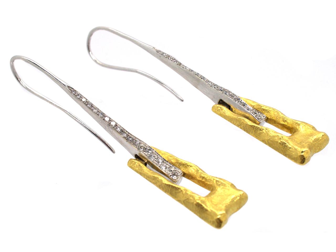 Modernist 18ct White & Yellow Gold & Diamond Drop Earrings