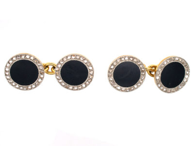 18ct Gold & Platinum Art Deco Rose Diamond & Onyx Round Cufflinks