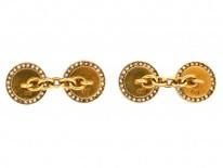 18ct Gold & Platinum Art Deco Rose Diamond & Onyx Round Cufflinks
