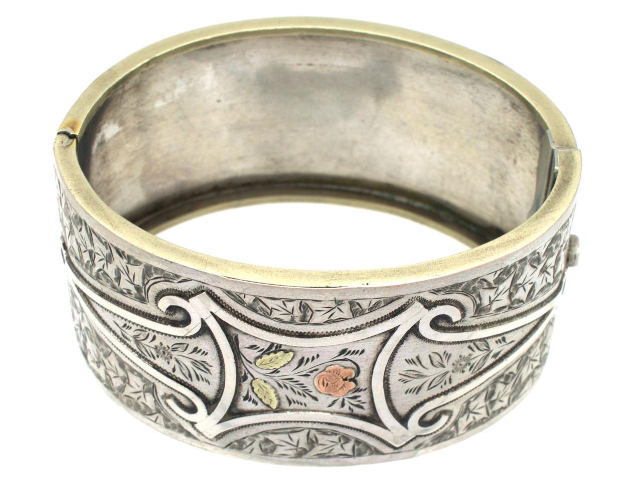 Victorian Silver & Gold Overlay Rose Design Bangle