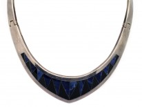 Mexican Silver & Inlaid with Blue & Black Stone Collar by Antonio Pineda
