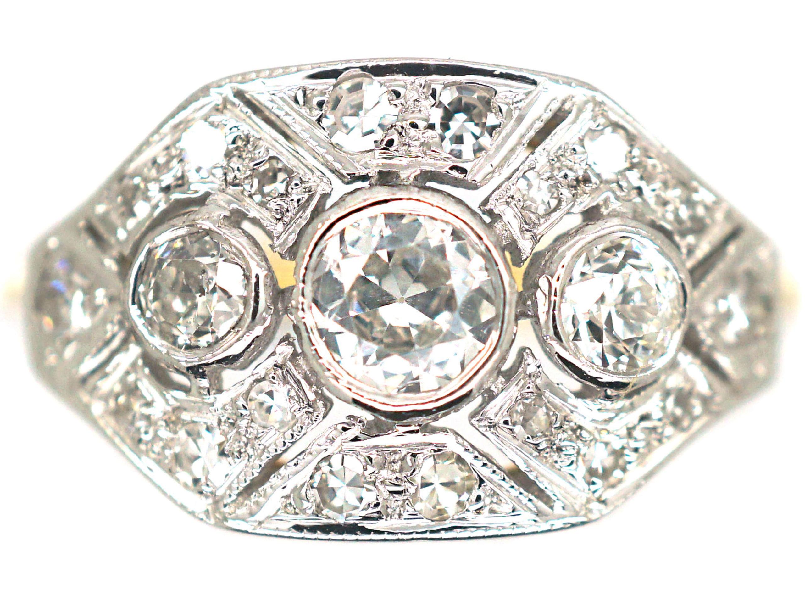 18ct White Gold & Platinum Diamond Octagonal Ring