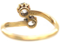 Edwardian 18ct Gold Two Diamond Crossover Ring