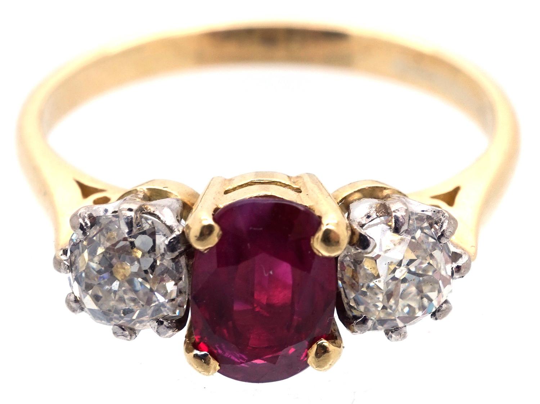 18ct Gold Ruby & Diamond Three Stone Ring