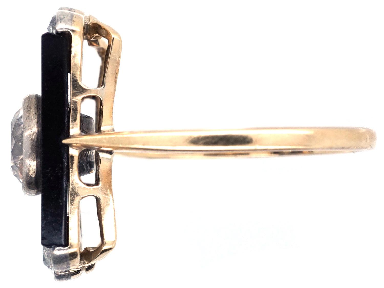Art Deco 18ct Gold, Diamond & Onyx Plaque Ring