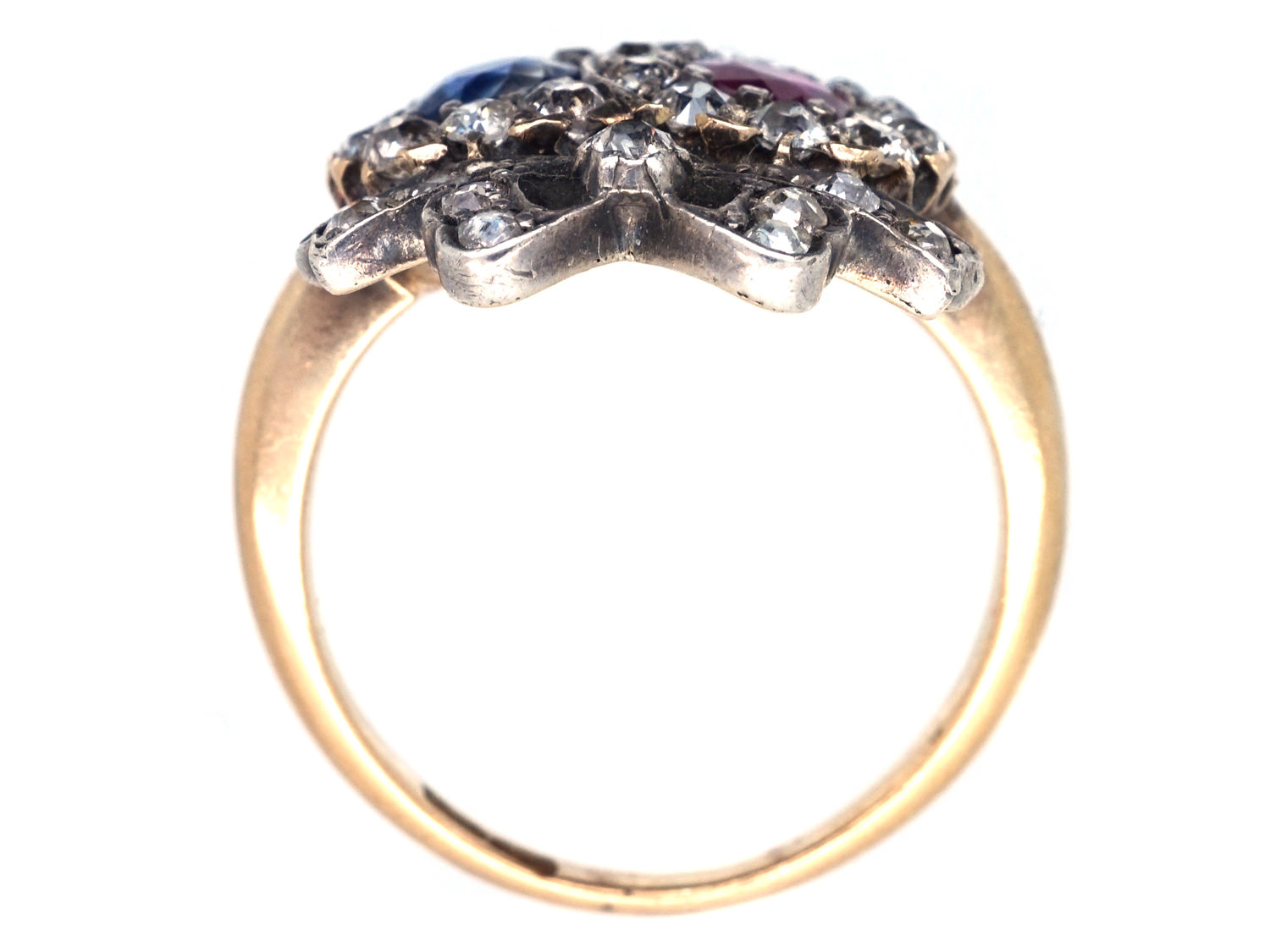 Victorian Double Heart Ring set with a Sapphire, Ruby & Diamonds