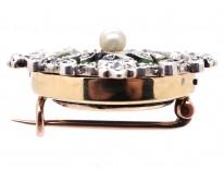 Edwardian 15ct Gold, Green Enamel, Natural Pearl & Diamond Brooch