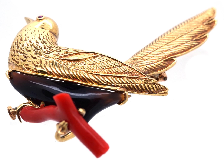 18ct Gold Coral & Onyx Bird Brooch by Boucheron