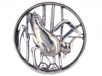 Georg Jensen Silver Brooch of a Lapwing in Bullrushes
