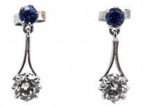 Art Deco Sapphire & Diamond Drop Earrings