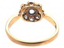 Edwardian 18ct Gold & Platinum Diamond Daisy Cluster Ring