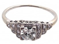 Art Deco 18ct White Gold Diamond Solitaire Ring with Diamond Shoulders