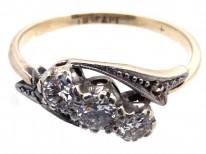 Edwardian Three Stone Diamond Twist Ring