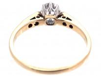 Art Deco Diamond Solitaire Ring with Diamond Set Shoulders