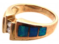 14ct Gold, Opal & Diamond Modernist Ring