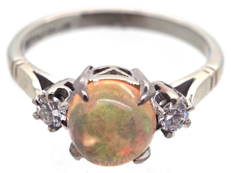 18ct White Gold & Platinum Water Opal & Diamond Ring