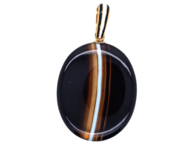 Victorian 18ct Gold & Banded Onyx Oval Pendant with Locket Back