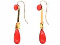 Victorian 18ct Gold & Coral Drop Earrings