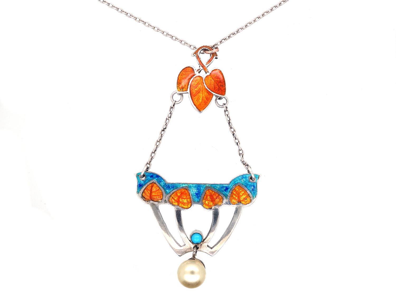 Art Nouveau Silver, Pearl, Turquoise & Enamel Pendant on Silver Chain