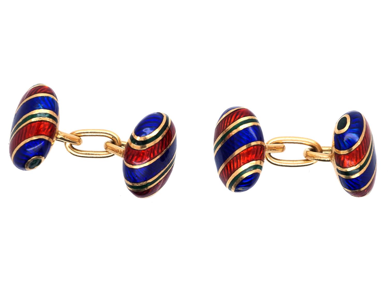18ct Gold & Enamel Cufflinks by Tiffany