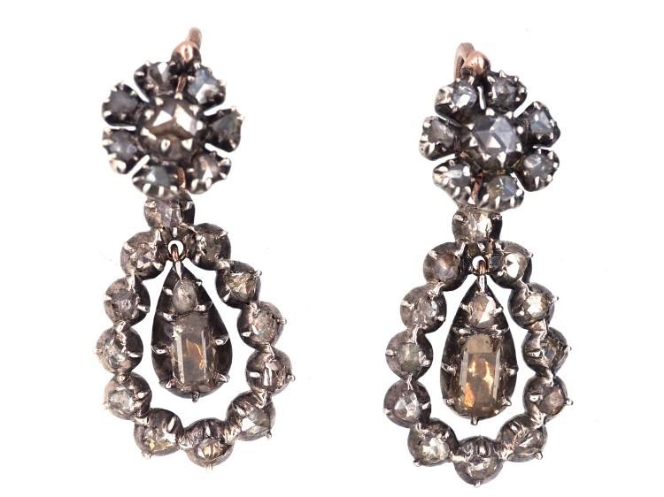 4c0338cb79f1a Georgian Rose Diamond Drop Earrings - The Antique Jewellery Company