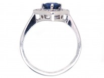 18ct White Gold Diamond & Sapphire Diamond Shaped Ring