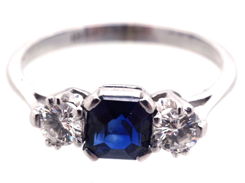 Art Deco 18ct White Gold Three Stone Sapphire & Diamond Ring