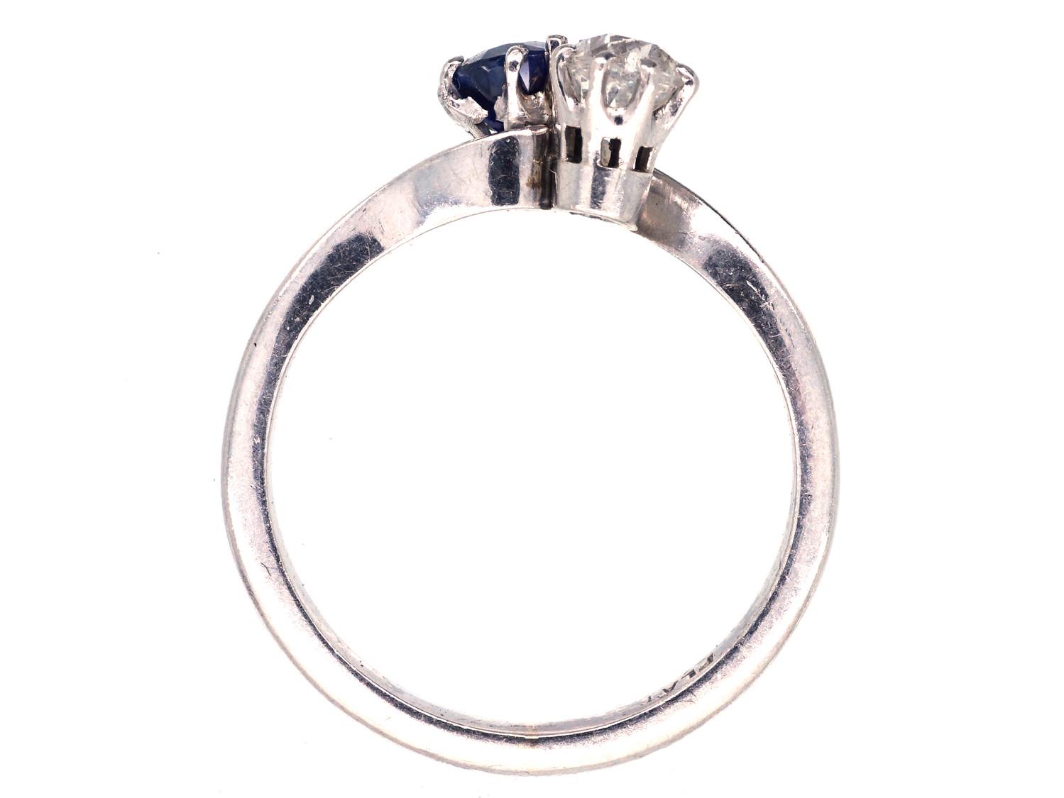 Edwardian Sapphire, Diamond & Platinum Twist Ring