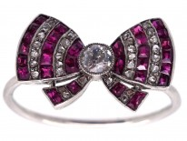 Edwardian Platinum, Ruby & Diamond Bow Ring