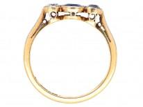 Sapphire & Diamond Millegrain Set Three Stone Ring