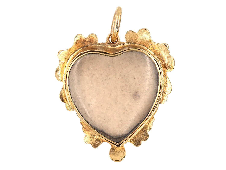 Georgian 15ct Gold & Pansy Motif Pendant with Locket Back