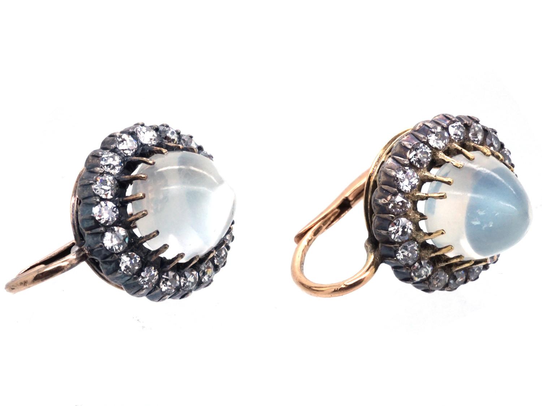 Edwardian Moonstone & Diamond Earrings