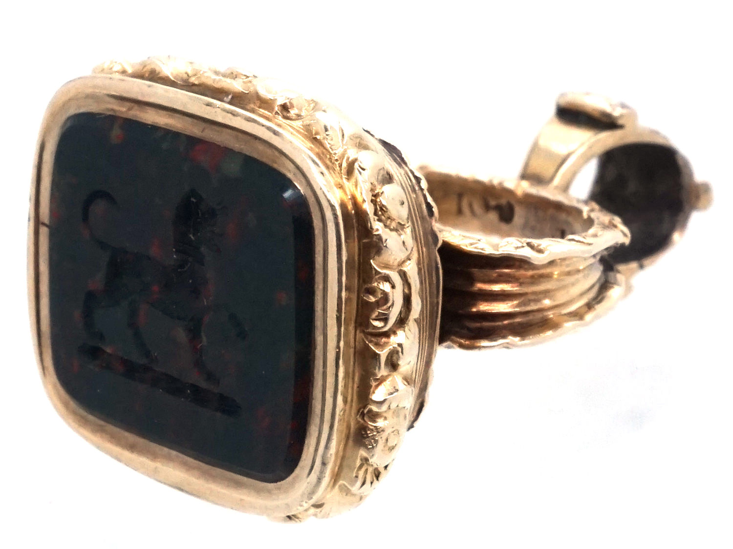 Regency Gold Seal with Bloodstone Intaglio of a Dog