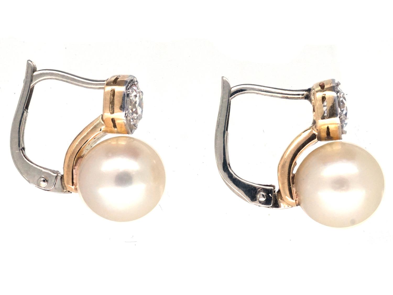 18ct White Gold Pearl & Diamond Earrings