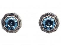Art Deco Silver & Blue Paste Earrings
