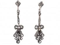 Edwardian Silver & Marcasite Drop Earrings