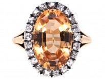 Edwardian 18ct Gold, Diamond & Topaz Cluster Ring