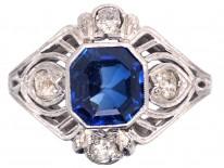 Art Deco 18ct White Gold & Platinum Ceylon Sapphire & Diamond Ring