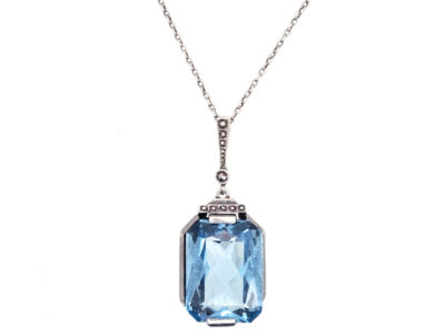 Art Deco Silver & Blue Paste Pendant on Silver Chain