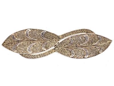 Theodor Farhner Silver Gilt & Marcasite Double Leaf Brooch